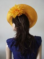 Golden Yellow  Handmade Saucer Hat Hatinator with Silk Roses for Wedding, Royal Ascot Designer Hat. Garden Party, Emerald Green Mother of the Bride Hat.